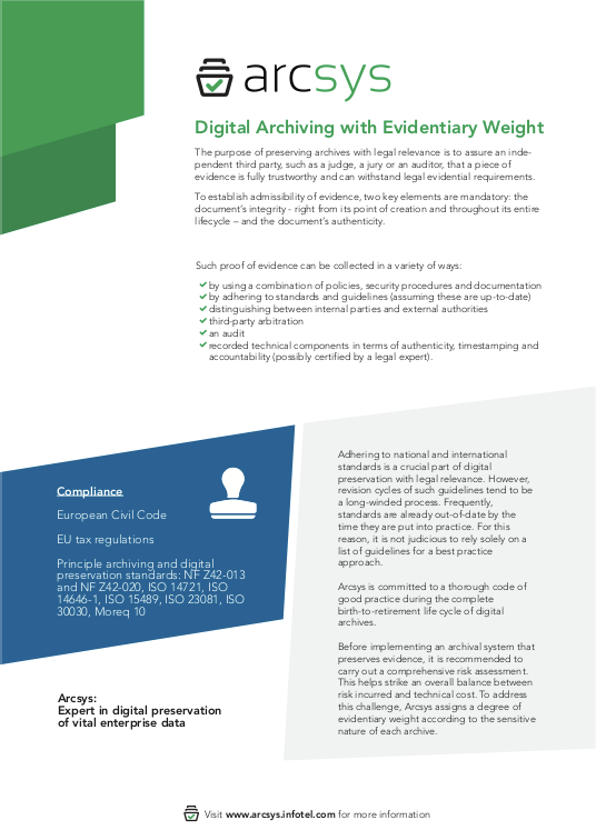 Digital Archiving with Evidentiary Weight